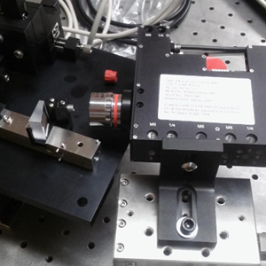 Point Souce Microscope PSM aligning an off-axis parabola to a fiber feed using a plane mirror